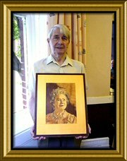 Photo: Eddie with his portrait of the late Queen Mother
