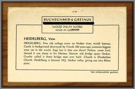 Label on rear of Heidelberg picture