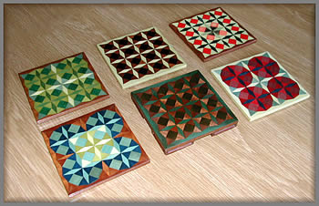 Marquetry deocrated coasters