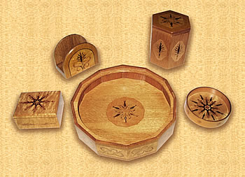 Collection of marquetry pieces